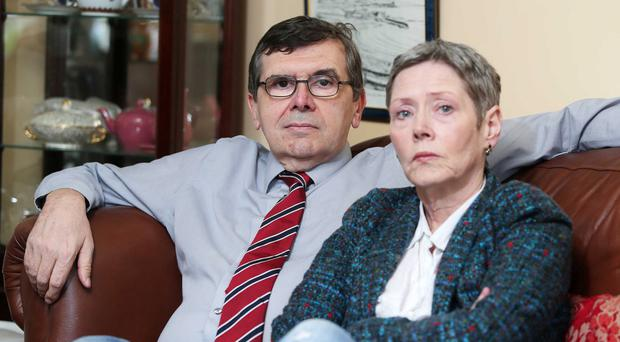 Tough times: former Belfast Telegraph Political Editor Liam Clarke at home in Ballymena with his wife Kathryn Johnston