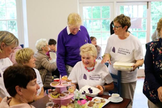 Paula at a coffee morning for Action for Pulmonary Fibrosis, which raised £2,200