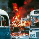 Tragic day: buses burn in the aftermath of Bloody Friday at the Great Victoria Street depot on July 21, 1972