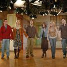 Take a bow: Matthew Perry (Chandler), Lisa Kudrow (Phoebe), David Schwimmer (Ross), Courteney Cox (Monica), Jennifer Aniston (Rachel), and Matt LeBlanc (Joey) on set