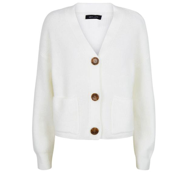 Off white knit patch pocket cardigan, £19.99, New Look
