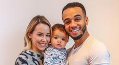 Aston Merrygold and Sarah Richards with their son, Grayson