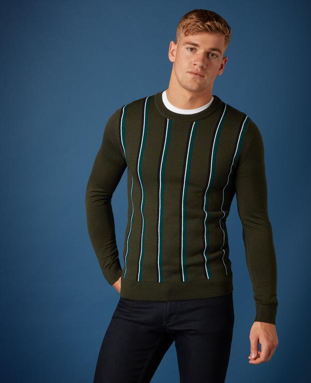 Green slim fit merino wool-blend crew neck sweater with multi-coloured stripes design, £75