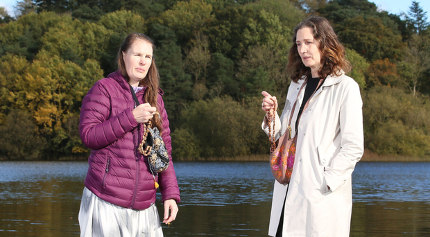 Sukhada Smith-Repass (left) with her sister Karuna on Inis Rath island in Fermanagh