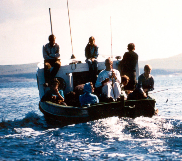 Paul Maxwell while out fishing with Lord Mountbatten in 1979