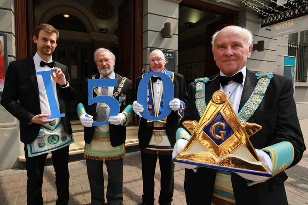 From left, Sebastian Heinz, Douglas Grey, Grand Master, Masonic Lodge of Ireland, Fergus Jamison, who at 95 has been a Freemason for over 50 years and John Dickson, former Grand Master, Provincial Grand Lodge, Antrim