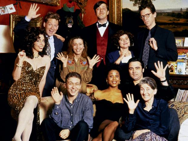 Slattery (third from right) with Kenneth Branagh, Emma Thompson, Stephen Fry, Hugh Laurie and others in the 1992 film Peter's Friends