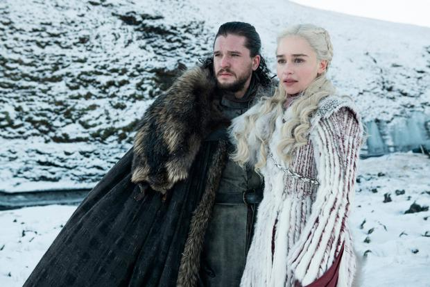 Actors Kit Harington and Emilia Clarke in a scene from Game of Thrones