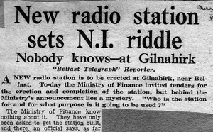 A Belfast Telegraph report from 1951 about plans for the mysterious facility