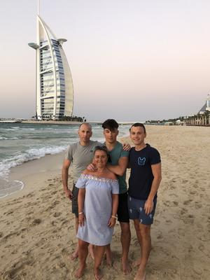 Family memories: Paulo with dad Brian, brother Darren and mum Fatima on holiday in Dubai