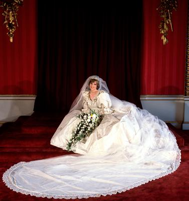 Diana in her wedding dress at Buckingham Palace