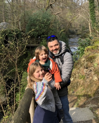 Lockdown separation: Alan Laughlin with children Arianna and Abel, who he is currently living apart from