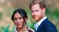 Prince Harry and wife Meghan during a visit to Johannesburg this week