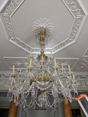 At Castle Ward, Co Down, staff faced the huge task of cleaning its fabulous antique 19th-century chandelier