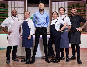 Right ingredients: from left, Mike Reid, Anna Haugh, Rylan Clark-Neal, Romy Gill, Ellis Barrie and Akis Petretzikis on Ready Steady Cook