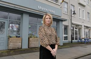 Claire Hunter outside the Marine Hotel in Ballycastle