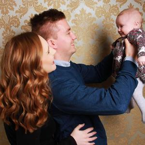 With husband Will Pidgeon and Lara at three months