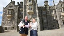 Lord and Lady Erne at their home in Crom Castle situated on the shores of the Upper Lough Erne in County Fermanagh. pictured with their dogs Piglet and Truffles. Photo by Peter Morrison