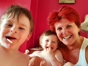 Sharon with her grandchildren, Josh and Jacob