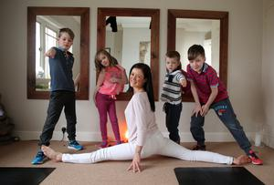 Flexible lifestyle: Kim and her children, from left, Corey, Maya, Jack and Kai