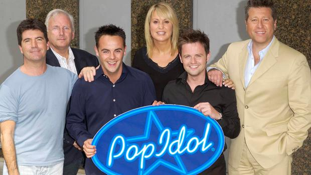 Nicki with Simon Cowell, Pete Waterman, Neil Fox and show hosts Ant and Dec at the launch of Pop Idol