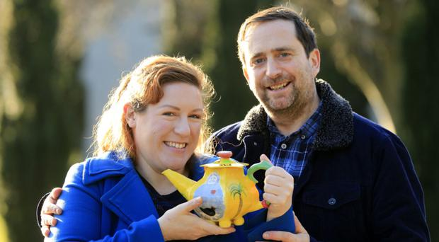 Marriage brewing: Tanya Sweeney with fiance Brian and that teapot
