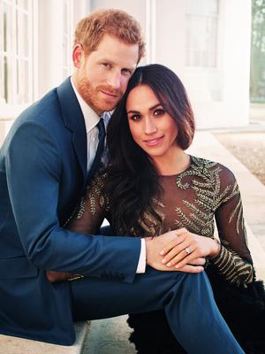 A photo announcing Meghan Markle's engagement to Prince Harry