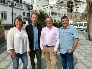 Michael and Seamus with TV presenter Jonnie Irwin and Michael's old school pal neighbour Tanya Smyth
