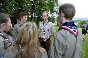 Richard Morrow gives a few last-minute instructions to his fellow Scouts