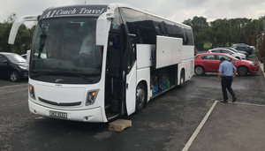 A coach in the grounds of Colemans Garden Centre, Templepatrick