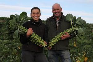 Emily McGowan with her father Adrian who runs a vegetable farm