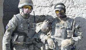 Colum McGeown with a comrade in Afghanistan