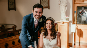 Happy day: Joanne Doody and her husband Mark, went ahead with their planned wedding in October 2020, despite restrictions