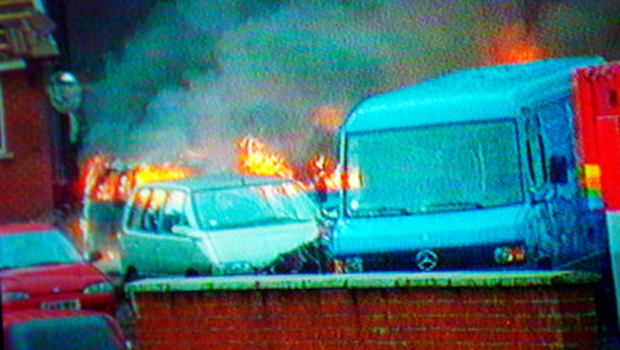 A video still of the IRA bombing at the Thiepval Barracks in Lisburn on October 7, 1996
