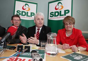 From left: Former MLA Tommy Gallagher, Fearghal McKinney and former party leader Margaret Ritchie at a Press conference in Belfast in 2010