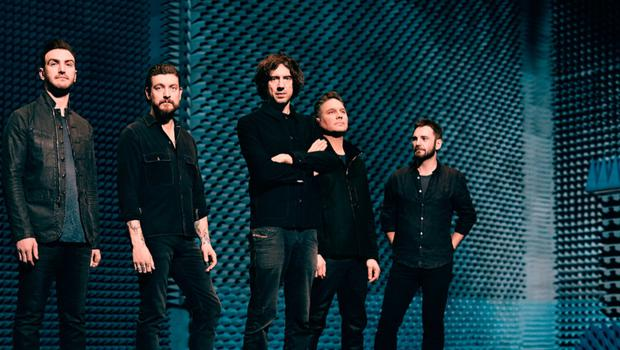 Johnny with fellow Snow Patrol members Paul Wilson, Nathan Connolly, frontman Lightbody and Jonny Quinn