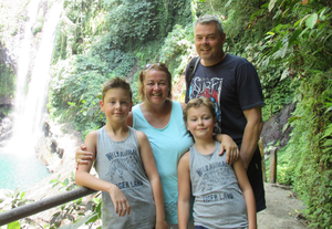 Susan Keenan with husband Michael and sons Ben and Tom during their first global adventure, and the boys at work