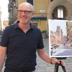 Picture perfect: Grahame Booth with a painting in Venice