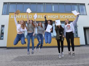 High fliers: Students at Ashfield Girls' High School celebrate their GCSE results last year