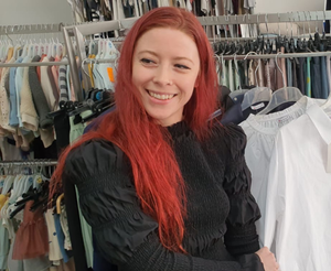Design success: Poppy Warwicker with her latest collection for Nu-In