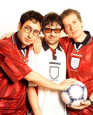 From left, David Baddiel, Ian and Frank Skinner in their Three Lions days