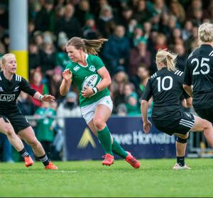 On the ball: Claire McLaughlin playing for Ireland against New Zealand