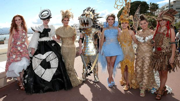 Rachel Irwin with the other winners in the Bank of Ireland Junk Kouture 2018 showcasing their winning creations at the Cannes Film Festival in France