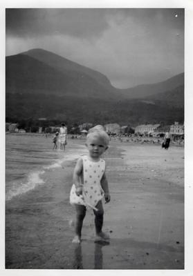 Tim as a toddler on Newcastle beach in Northern Ireland