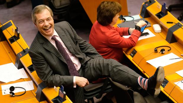 Fond farewell: Nigel Farage in celebratory mood at the EU Parliament this week but Diane Dodds is more reserved