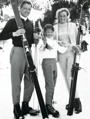 Rose Neill with her mum and dad during a ski trip
