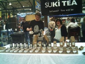 Oscar and business partner Annie Irwin at their Suki Tea stall at St George's Market, Belfast, in 2005
