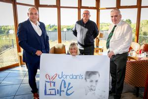 Colin Kennedy with wife Dawn launching the charity at the Temple Golf and Country Club with staff members Robert Gill and Gerard McClelland