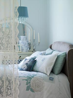 George Home Heirloom duvet set, teal acryclic droplet light shade; candelabra; trio of boxes, Asda