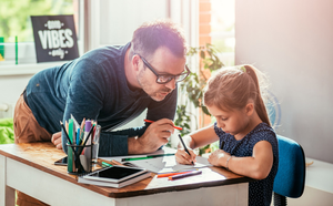 Different routine: a dad homeschooling his daughter